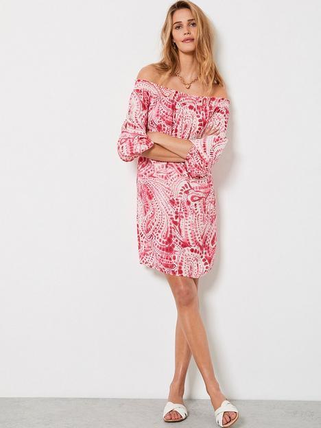 mint-velvet-mint-velvet-vanessa-print-bardot-mini-dress