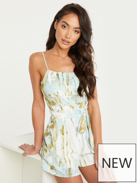 quiz-marble-print-strappy-playsuit-green