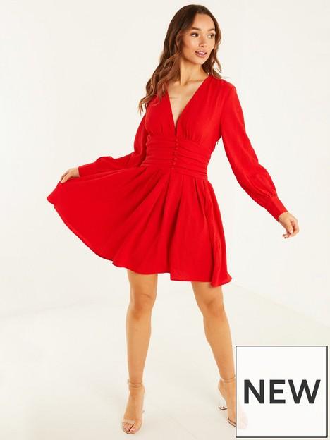 quiz-ruched-waist-detail-skater-dress-red