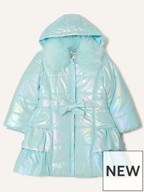 monsoon-girls-holographic-foil-frill-coat-with-hood-aqua