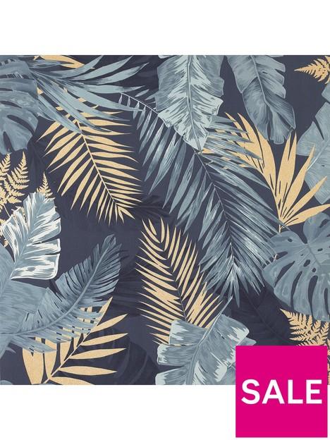 arthouse-soft-tropical-navy-wallpaper