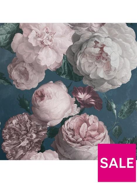 arthouse-highgrove-floral-teal-wallpaper