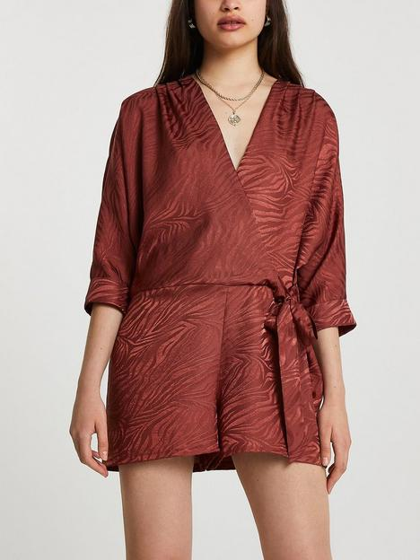 river-island-jacquard-tie-front-playsuit--brown