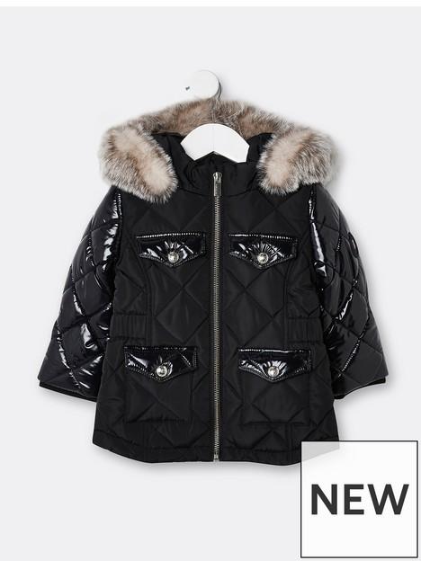 river-island-mini-mini-girls-high-shine-sleeve-padded-coat-black