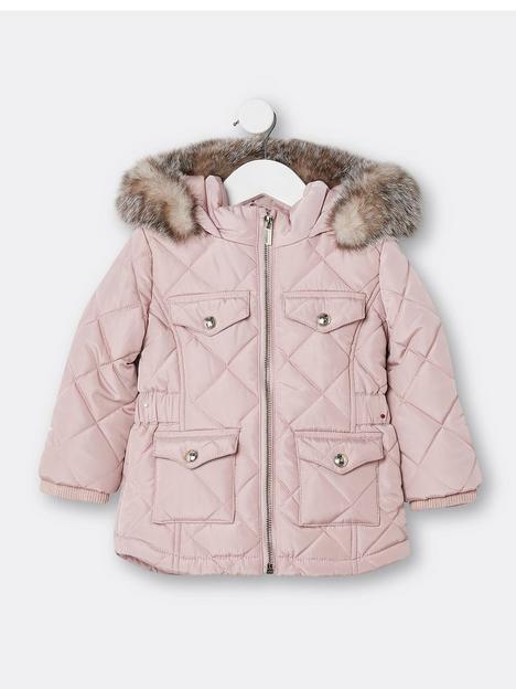 river-island-mini-mini-girls-matte-padded-coat-pink
