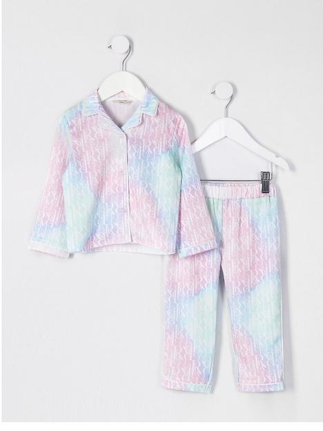 river-island-mini-mini-girls-ombre-satin-pyjama-set-multi