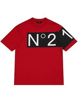 no-21-colourblock-logo-t-shirt-red