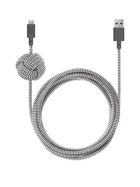 native-union-night-cable-usb-c-to-lightning-with-weighted-knot-zebra-3m