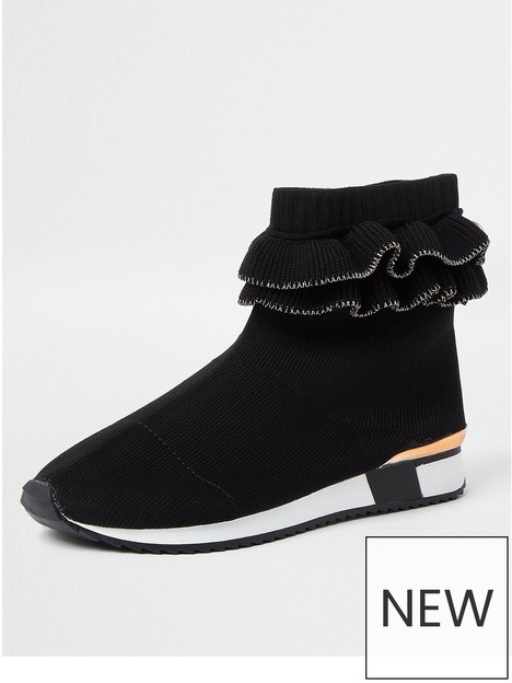 river-island-girls-ruffle-knigtted-trainers-black