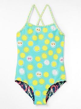 White Stuff Girls Mermaid Reversible Swimsuit - Blue