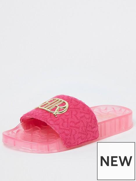 river-island-girls-branded-toweling-slider-pink