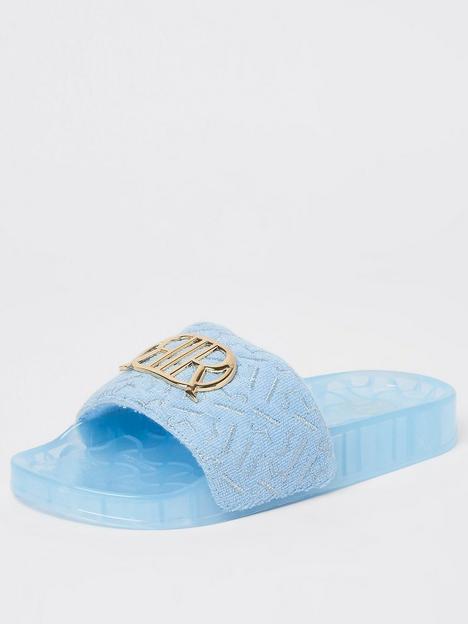 river-island-girls-branded-toweling-slider-blue