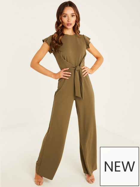 quiz-scuba-crepe-knot-front-frill-sleeve-palazzo-jumpsuit-khaki