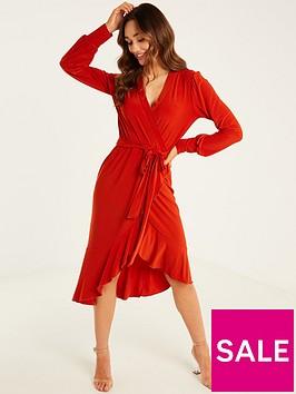 quiz-ity-wrap-frill-long-sleeve-tie-belt-midi-dress-rust