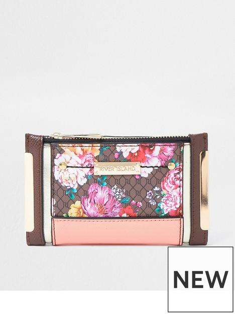 river-island-monogram-floral-foldout-purse-brown