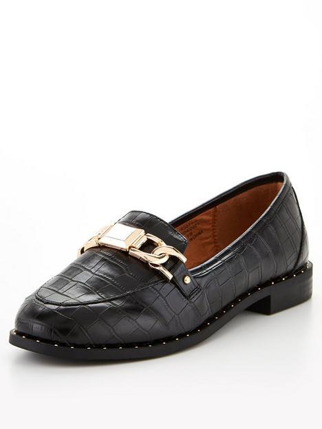 river-island-croc-embossed-studded-loafer-black