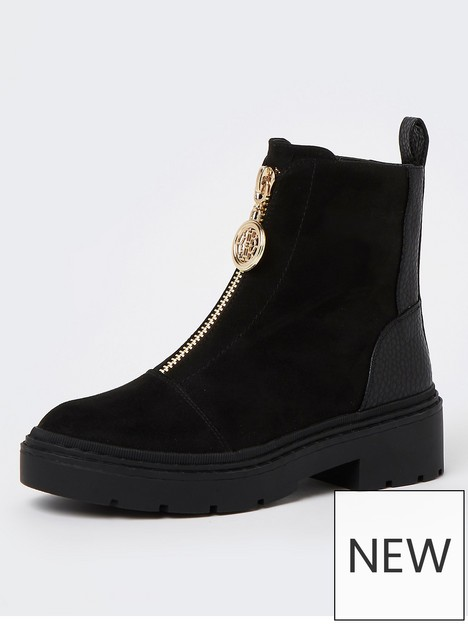 river-island-zip-front-chunky-boot-black