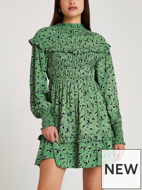 river-island-frill-floral-mini-dress-green