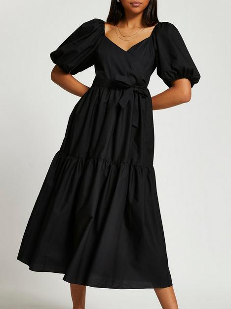 river-island-wrap-tier-midi-dress-black