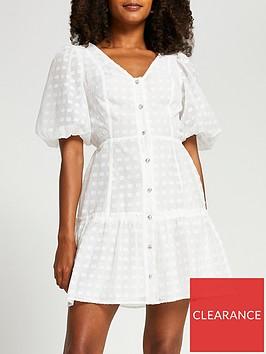 river-island-shortsleeve-spotted-mesh-puff-sleeve-mini-dress-white