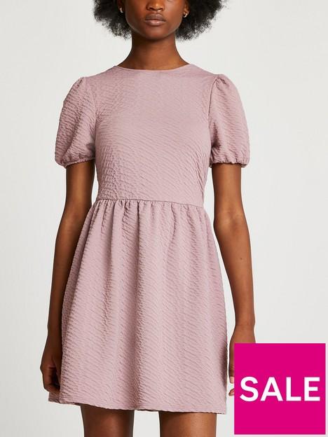 river-island-textured-bow-back-mini-dress-pink