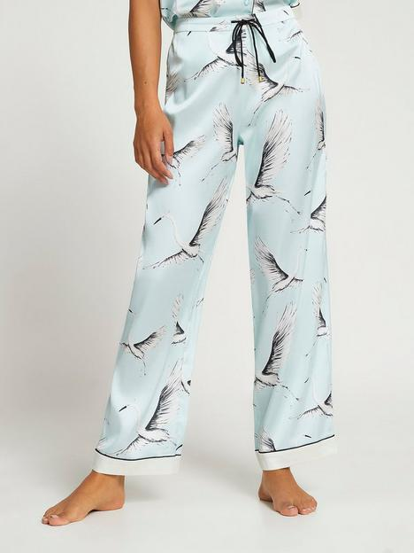 river-island-satin-bird-print-pyjama-trouser-blue