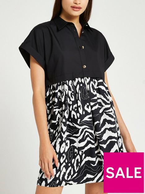 river-island-hybrid-shirt-dress-black