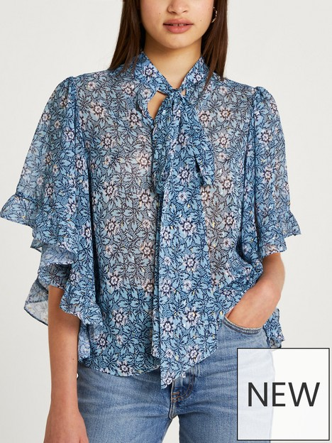 river-island-cape-sleeve-pussybow-blouse-blue