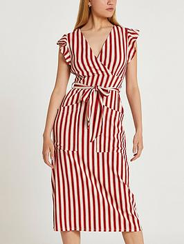 river-island-stripe-tie-waist-midi-dress-red