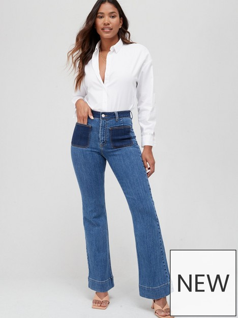 v-by-very-front-pocket-contrast-flare-jean-dark-wash