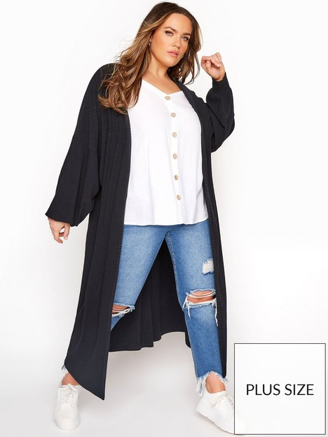 yours-yours-limited-longline-rib-cardigan-black