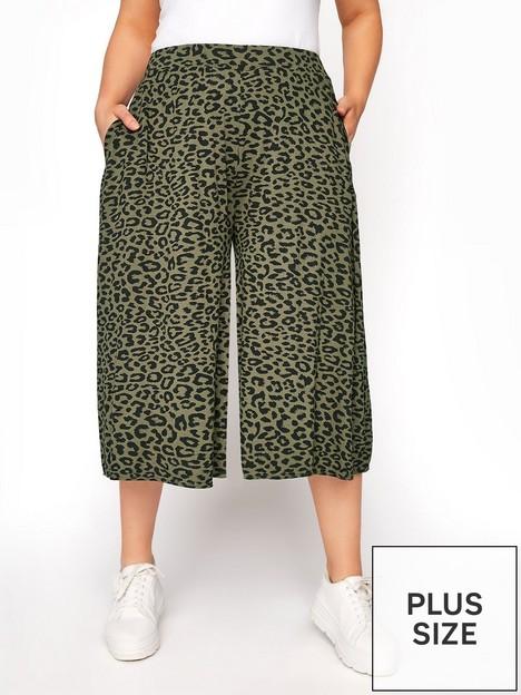 yours-clothing-khaki-leopard-culotte