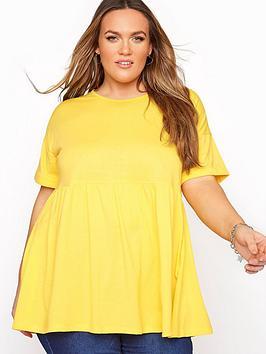 Yours Yours Clothing Drop Shoulder Peplum Tunic. Yellow