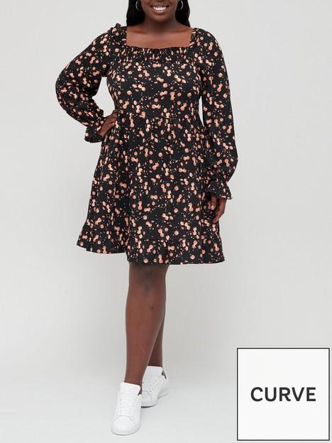 v-by-very-curve-long-sleeve-square-neck-floral-mini-dress-black-floral-print