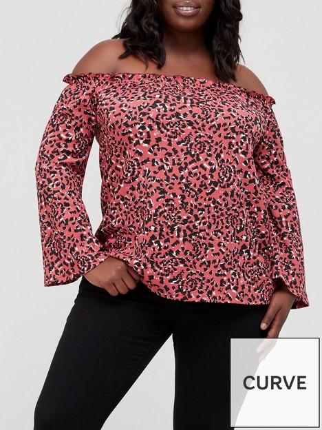 v-by-very-curve-wide-sleeve-bardot-top-animal-print