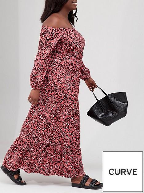 v-by-very-curve-printnbspblouson-sleeve-bardot-maxi-jerseynbspdress-animalnbsp