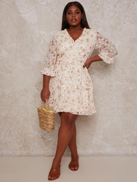 chi-chi-london-curve-ruffle-trim-floral-print-mini-dress-cream