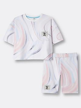 river-island-girls-marble-tshirt-and-cycling-short-set-white