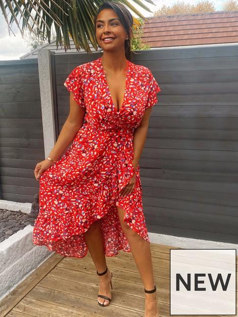ax-paris-abstract-print-wrap-dress-red