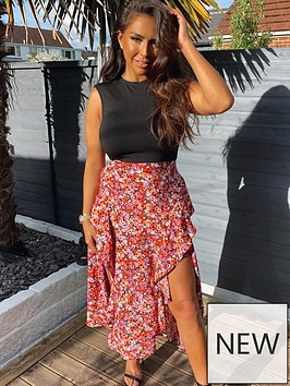 ax-paris-printed-skirt-2-in-1-midi-dress-red