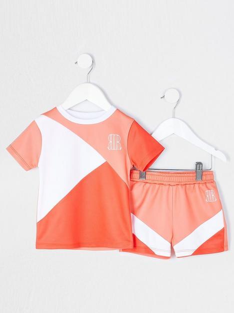 river-island-mini-boys-colour-block-tshirt-and-short-set-coral