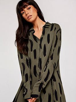 apricot-brushstroke-oversize-shirt-dress