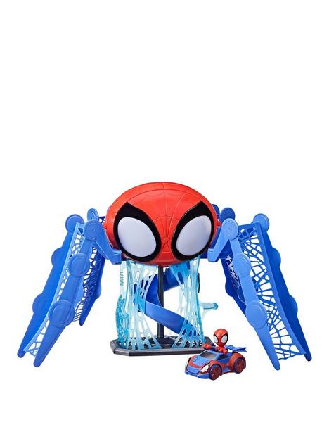 spiderman-marvel-spidey-and-his-amazing-friends-web-quarters-playset-with-lights-sounds-spidey-and-vehicle-for-children-aged-3-and-up
