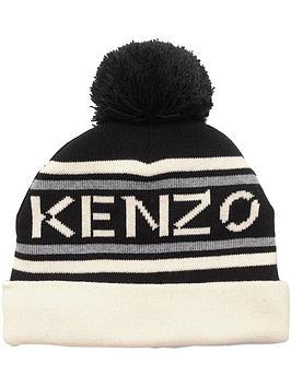kenzo-logo-knit-pom-pom-hat-black