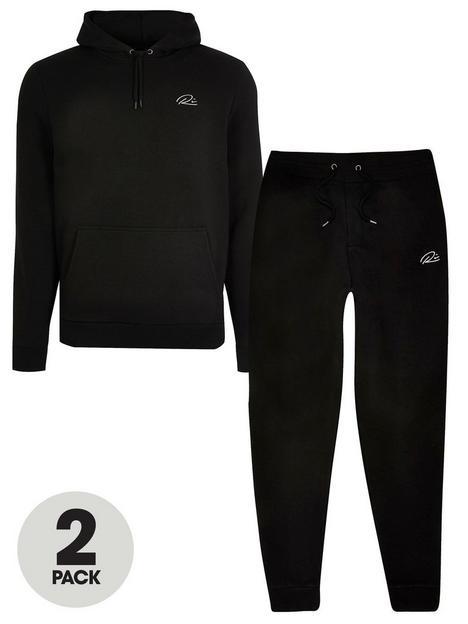river-island-2-pack-hoody-jogger-tracksuit-black