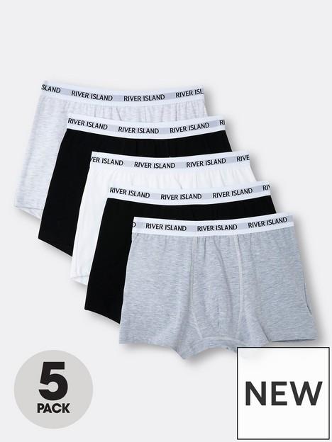 river-island-5-pack-white-waistband-trunks-multi