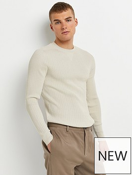 river-island-cable-knit-muscle-fit-jumper-stone