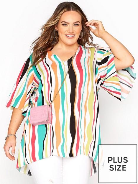 yours-yours-v-neck-wide-sleeve-dip-back-top-white-orange-stripe