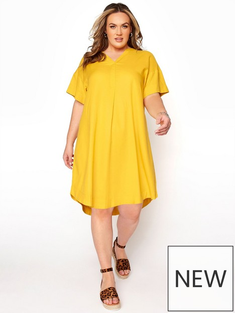 yours-yours-notch-neck-summer-throw-on-dress-yellow