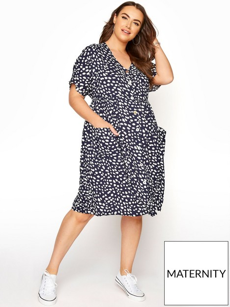 yours-yours-maternity-button-through-tunic-dress-navy